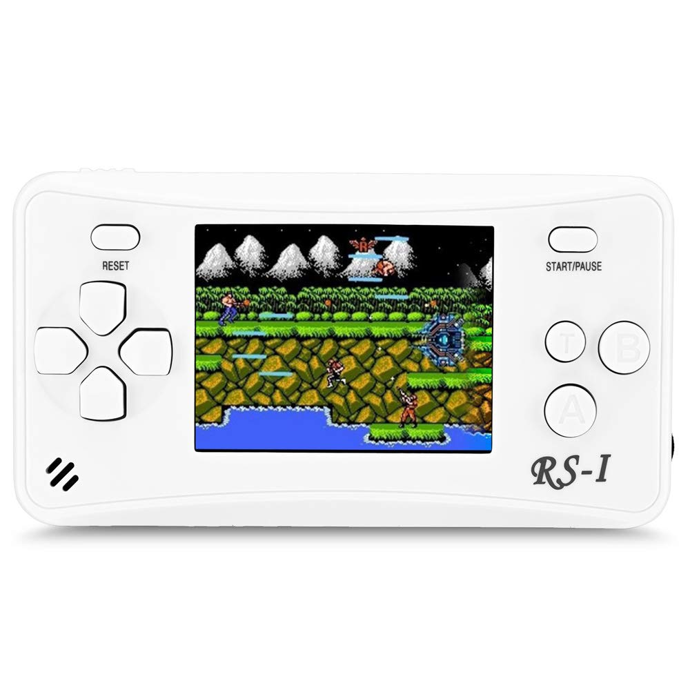 JJFUN RS-1 Handheld Game Console for Children,Retro Game Player with 2.5'' 8-Bit LCD Portable Video Games,The 80's Arcade Video Gaming System,Built-in 152 Classic Old School Games Entertainment-White