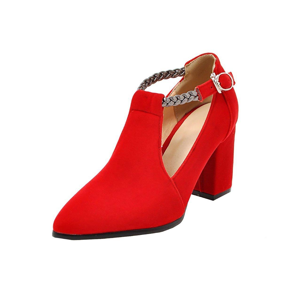 YE Damen T Strap Pumps Blockabsatz High Heels mit Riemchen Bequem Elegant Schuhe  40 EU|Rot