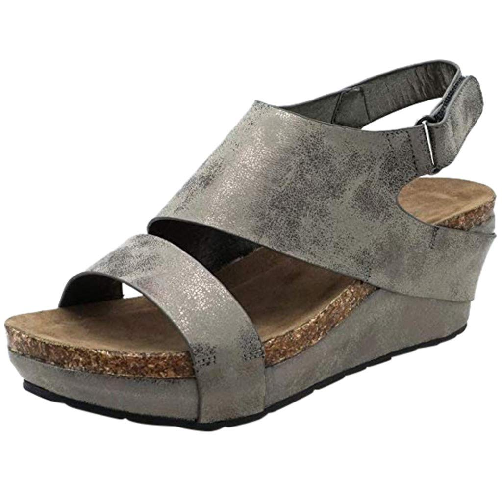 Kawaiine Women's Promotes-Excellence Platform Sandal Roman Slippers Shoes Gray