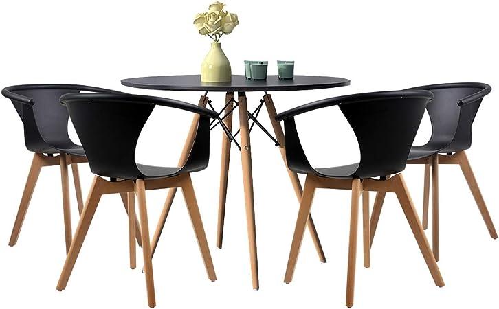 Joolihome Set di 4 Tavolo da Pranzo Rotondo e Poltrona, in