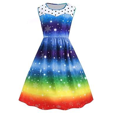 3dca6827ac Amazon.com  STORTO Plus Size Christmas Rainbow Dress Womens Vintage  Snowflake Print Party Swing Dress  Clothing