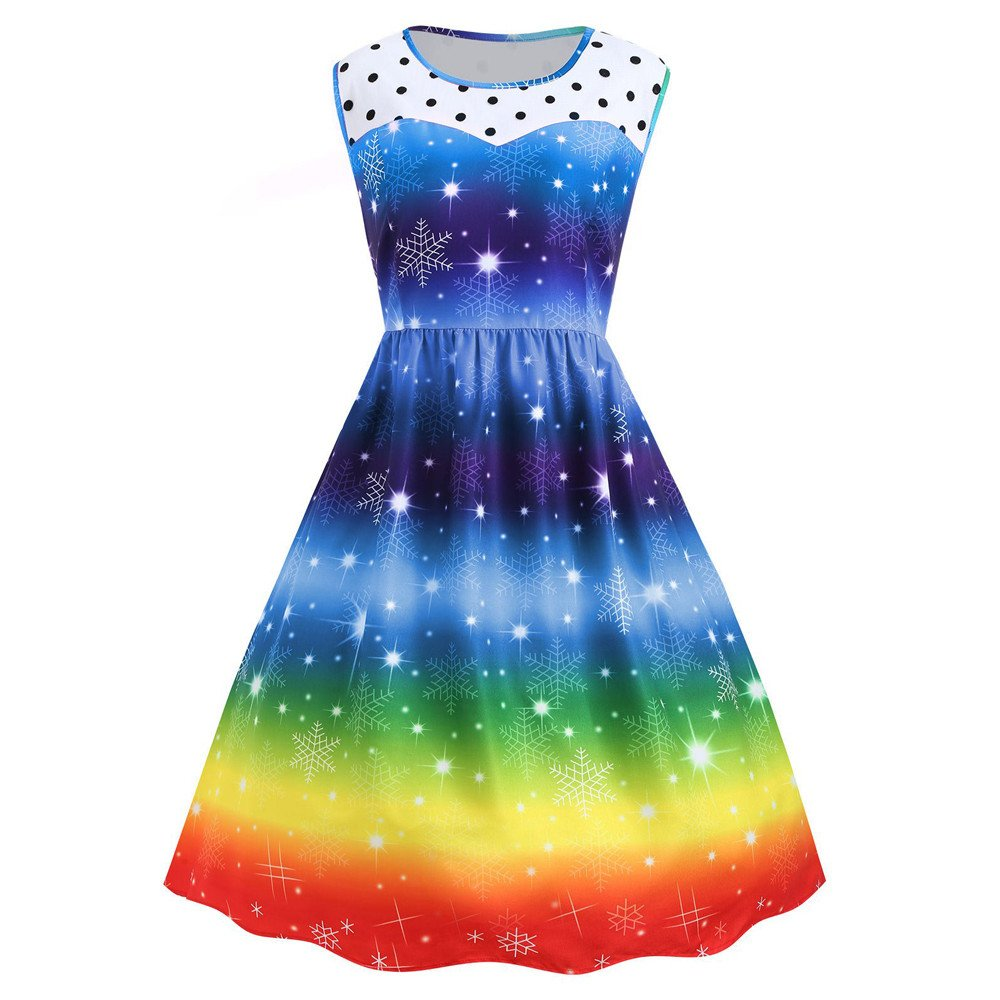 Ugly Christmas Dresses Women Christmas Colorful Snowflake Print Santa Skirts Eveing Party Swing Dresses
