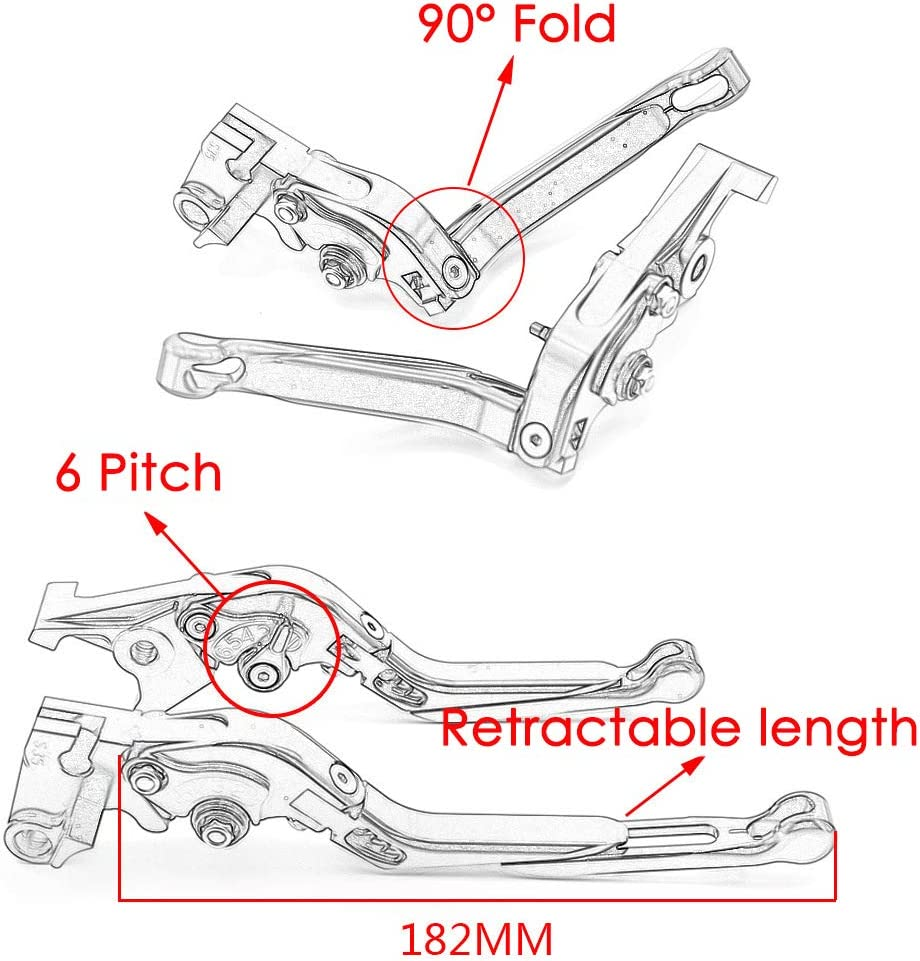 Bandit 1200 Bandit 1250 // S passend f/ür Suzuki Bandit 650S zusammenklappbare CNC-Kupplungshebel mit kurzer Bremse 1 Paar einstellbare Bandit 650,Blau ZZYE Kupplungshebel