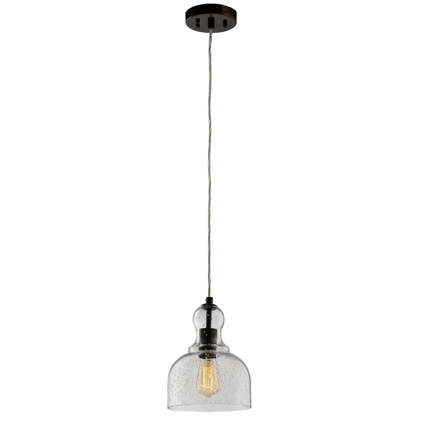CO-Z Bronze Kitchen Pendant Light with 8'' Bubble Glass Shade, Antique Style Hanging Ceiling Fixture for Kitchen Island Dining Room Bar Farmhouse Lighting, Adjustable Handblown Glass Pendant Light