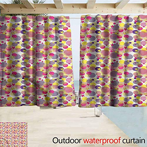MaryMunger Outdoor Patio Curtains Pastel Memphis 80s Geometric Drapes for Outdoor Decor W63x45L Inches