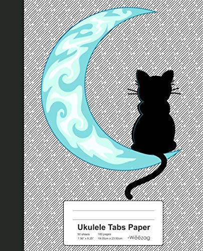 Ukulele Tabs Paper: Blue Moon Black Cat Sailor Book (Weezag Ukulele Tabs Paper Notebook)