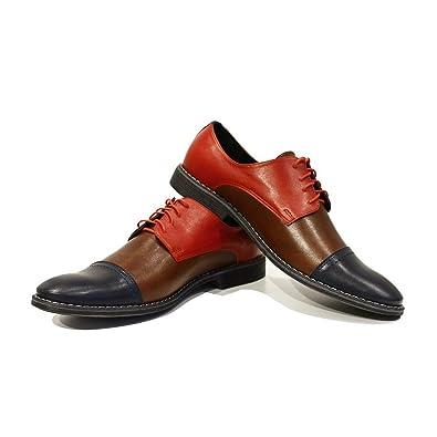 Modello Rocco - 40 EU - Cuero Italiano Hecho A Mano Hombre Piel Vistoso Zapatos Vestir Oxfords - Cuero Cuero Suave - Encaje 4IcjU