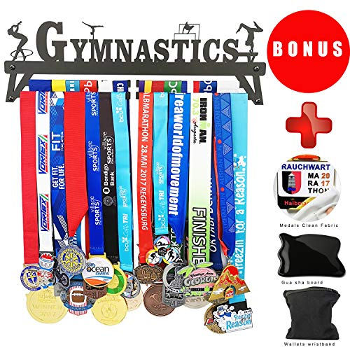 California Goods Gymnastics PHYSIE Medal Hanger Display Holder for 30 Medals Unisex Medal Hanger,Best Gifts Medal Display Honors Holder,1PC Wristband Pocket Included