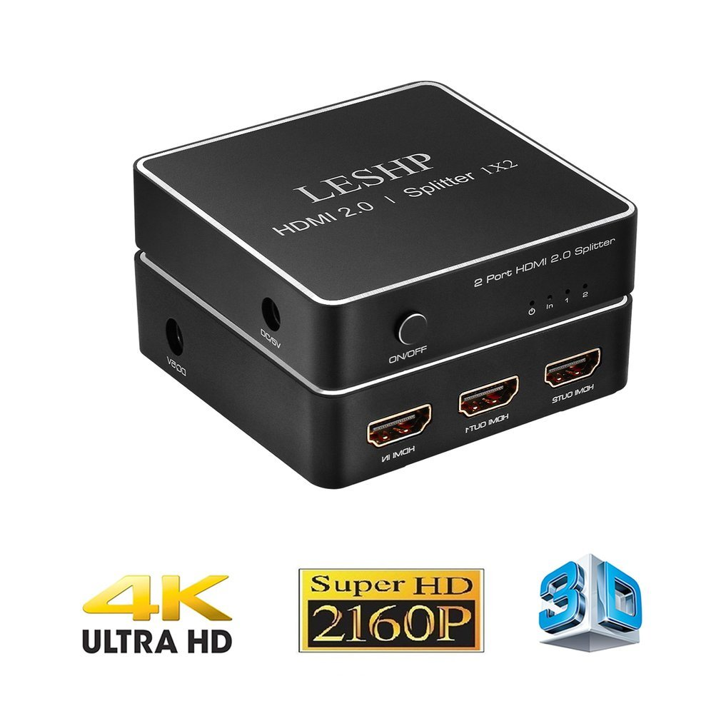 LESHP 1x2 HDMI Switch Splitter, 1 in 2 Out Repeater Amplifier Box Hub with Power Adapter, Support 3D & Full Ultra HD 4K/2K, Capable for PS4 Xbox STB Desktop Blu-ray Player LESHP376801
