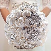 Anself Wedding Flowers Roses Crystal Pearl Wedding Bouquet, Bridal Artificial Silk Flowers
