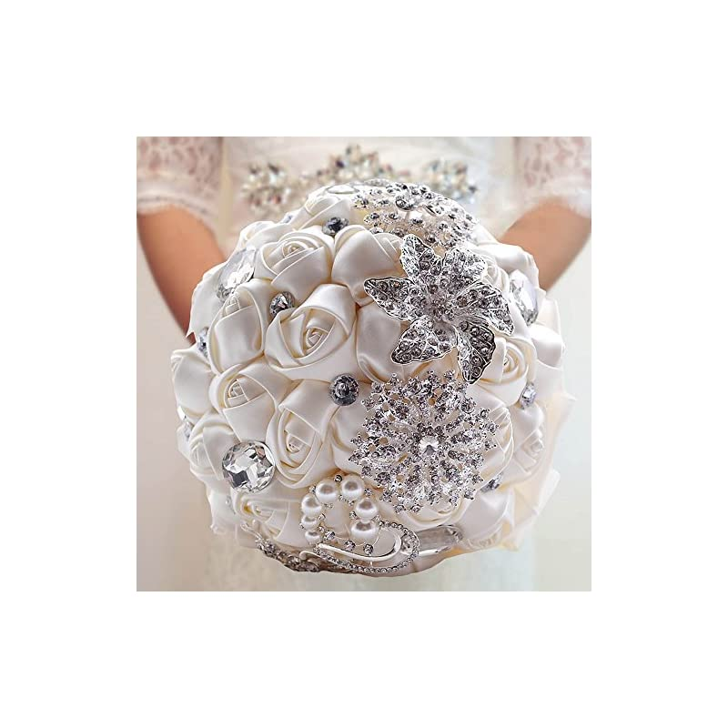 silk flower arrangements decdeal bridal bouquet, roses flowers crystal pearl wedding bouquet, bridesmaid wedding bouquet (ivory(20x27cm))