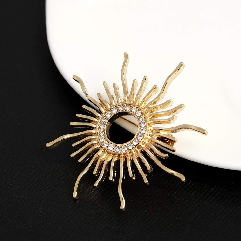 Desti Flakes Brooch Gold-Plated high-Grade Rhinestone Flower Brooch with Sun Corsage Ladies Clothing Accessories Autumn and Winter