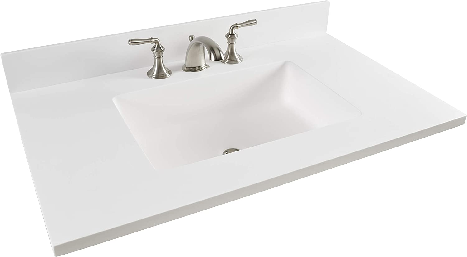 Vanity Top Designed With Corian Solid Surface And 7722 Integrated Corian Elements Rectangular Sink 22 X 37 Glacier White Amazon Com
