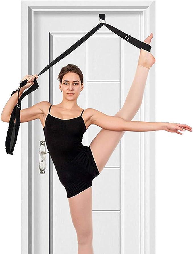 Hip Flexor Safe Leg Strap on Door for Pole Dance Coach Ballet Gymnastic Exercise Stretching Yoga Strap Leg Stretcher Band Door Flexibility Trainer Yoga Belt with Adjustable Metal D-Ring