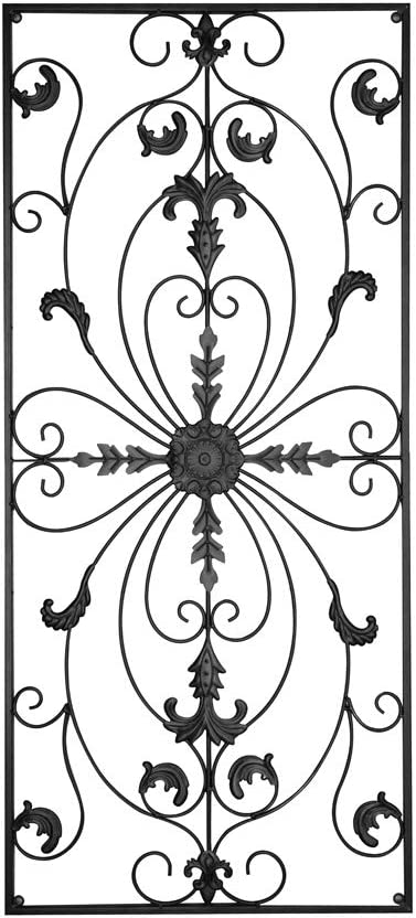 GB HOME COLLECTION gbHome GH-6778 Metal Wall Decor, Decorative Victorian Style Hanging Art, Steel Decor, Rectangular Design, 19.7 x 44 Inches, Black