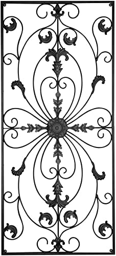GB HOME COLLECTION Metal Wall Decor, Decorative Victorian Style Hanging Art, Steel Decor, Rectangular Design, 19.7 x 44 Inches, Black