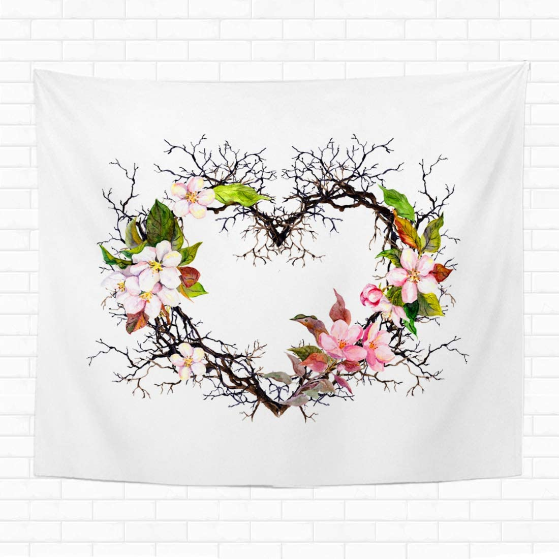 "Topyee Home Decorative Tapestry Wall Hanging Heart Shape Branches Apple Blossom Sakura Flowers Watercolor Floral 50"" L x 60"" W Tapestries Wall Blanket for Dorm Living Room Bedroom"
