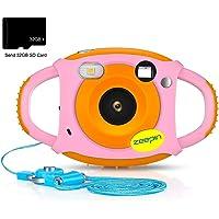 ZEEPIN Caméra Enfant, Appareil Photo Numérique 1080P HD Antichoc Rechargable avec Ecran LCD 1.77 Pouces, Effet Filtre 7 Couleurs pour Garçons Filles Rose (avec Carte 32G)