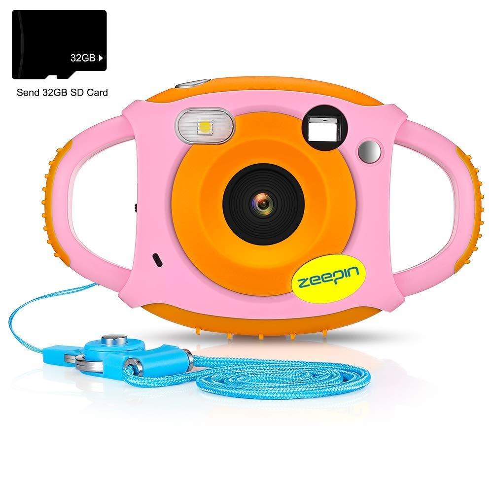 ZEEPIN Caméra Enfant, Appareil Photo Numérique 1080P HD Antichoc Rechargable avec Ecran LCD 1.77 Pouces, Effet Filtre 7 Couleurs pour Garçons Filles Rose (avec Carte 32G) product image