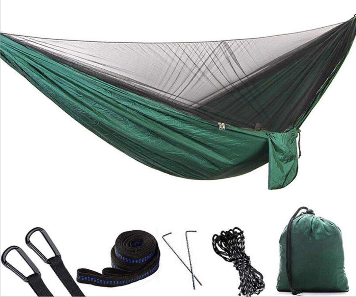 1 2 Person Camping Hammock with Mosquito Bug Net, Single Double Hammock Lightweight Portable Parachute Nylon Hammock for Camping,Backpacking,Survival,Travel More