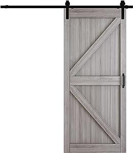 TENONER Sliding Barn Door, 36 inches x 84 inches,Grey, K-Frame,DIY Sliding Barn Door, with Barn Door Hardware Kit