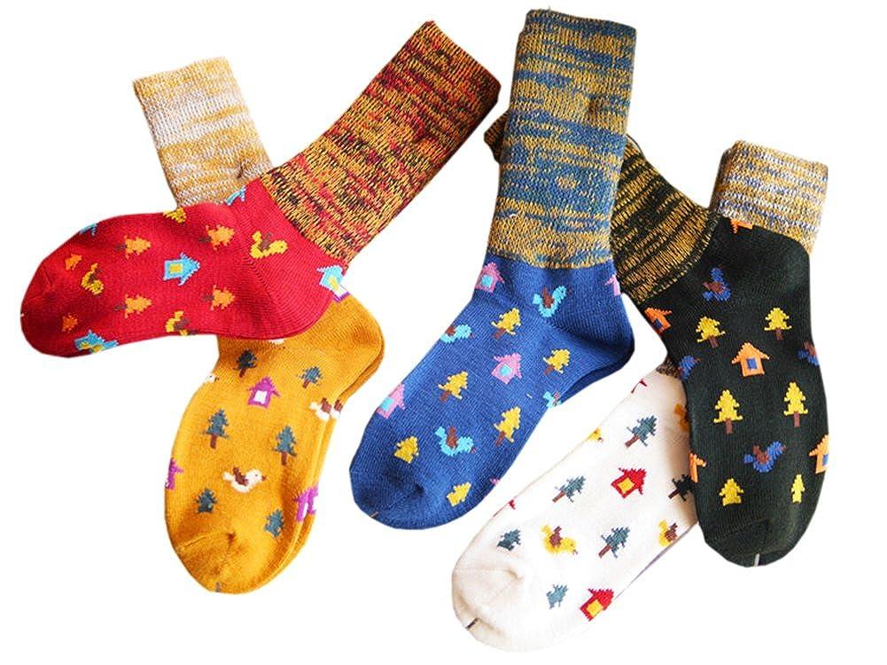 SUN 5 Pairs Winter Warm Socks High Cuffs Socks