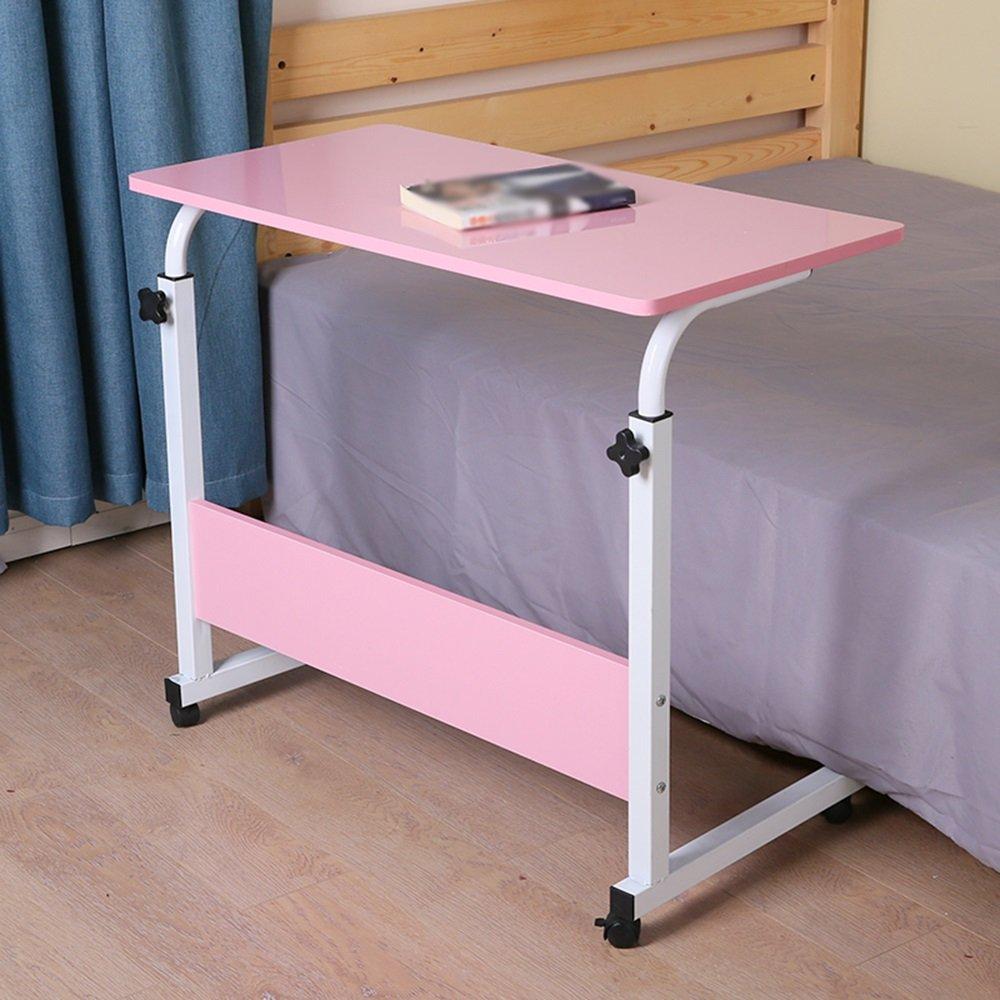 XIA 折り畳みテーブル 高さ調整可能なベッドサイドコンピュータデスクレイジーテーブルMDFピンク、木製の色80 * 40センチメートル80 * 50センチメートルシンプルなデスクリムーバブル小さなテーブル ( 色 : ピンク ぴんく , サイズ さいず : 80*40cm ) B07C9TC7TDピンク ぴんく 80*40cm