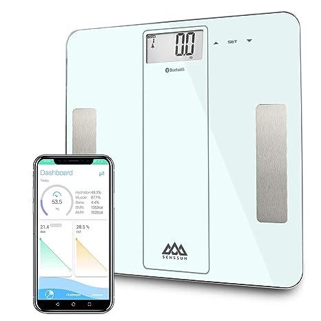 SENSSUN Bluetooth Medidor Inteligente de Masa Corporal, Báscula Digital de Baño, BMI Báscula de Peso, Analizador de composición de Cuerpo con IOS y ...
