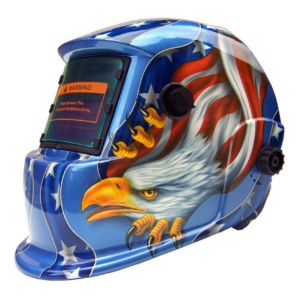 KingSo Welding Helmet Solar Powered Auto Darkening Hood with Adjustable Wide Shade Range 4/9-13 for MIG ARC Plasma Grinding Welder Mask (Eagle)