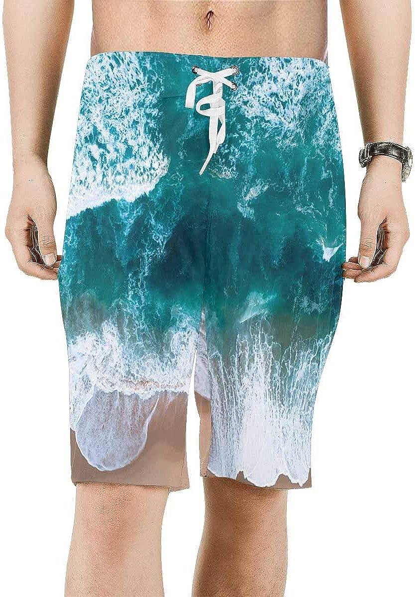 INTERESTPRINT Mens Water Shorts Ocean Wave Quick Dry Beach Shorts XS-6XL