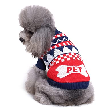 HongYu Pet Sweater, Thickening Knitted Pet Ropa para perros pequeños Warm Vest Chest Protector Jersey de cuello alto Classic Jumper Coat Dos pies Wear Vest ...