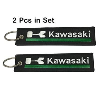 2 Pcs in Set - (Kawasaki) Keychain Double Sided for Motorcycles, Jet tag Keychain Scooters, Cars and Gifts: Automotive [5Bkhe0416106]