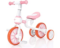 XJD 3 in 1 Kids Tricycle for 18 Month - 3 Years Old Boys Girls Baby Balance Bike Toddler Trike for Infant First Bike 4 Wheel