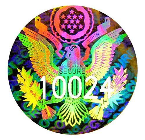81x US EAGLE NUMBERED Hologram Stickers, 0.6