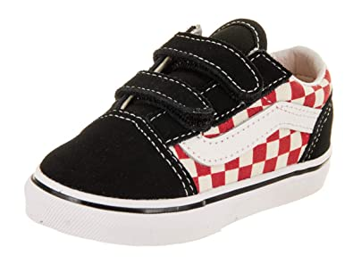 21ab10b67f8 Vans Toddler Old Skool V INF Checkerboard Black RED Size 9.5  Amazon ...