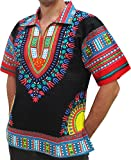 RaanPahMuang Brand European Collar Short Sleeve Shirt African Black Dashiki Art, Large, Black Red