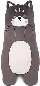 LuluLaLa 19.6'' Soft Husky Plush Pillow,Kawaii Sleeping Hugging Pillow,Stuffed Animal Plushie Throw Toy for Home Decor,Birthday, Valentine