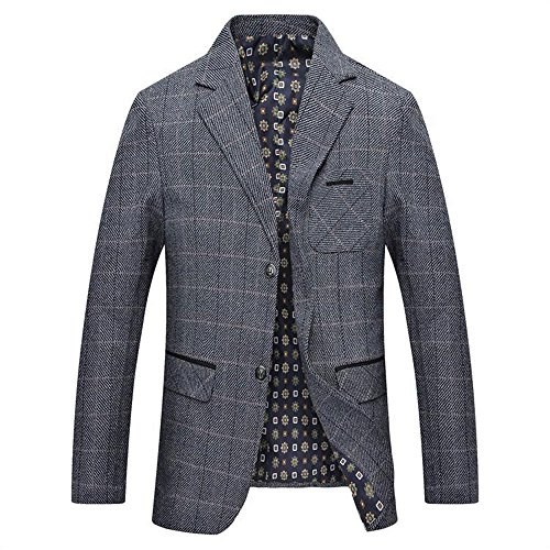 LINGMIN Men's Herringbone Wool Blazer Jacket 2 Button Casual Working Suit Jacket