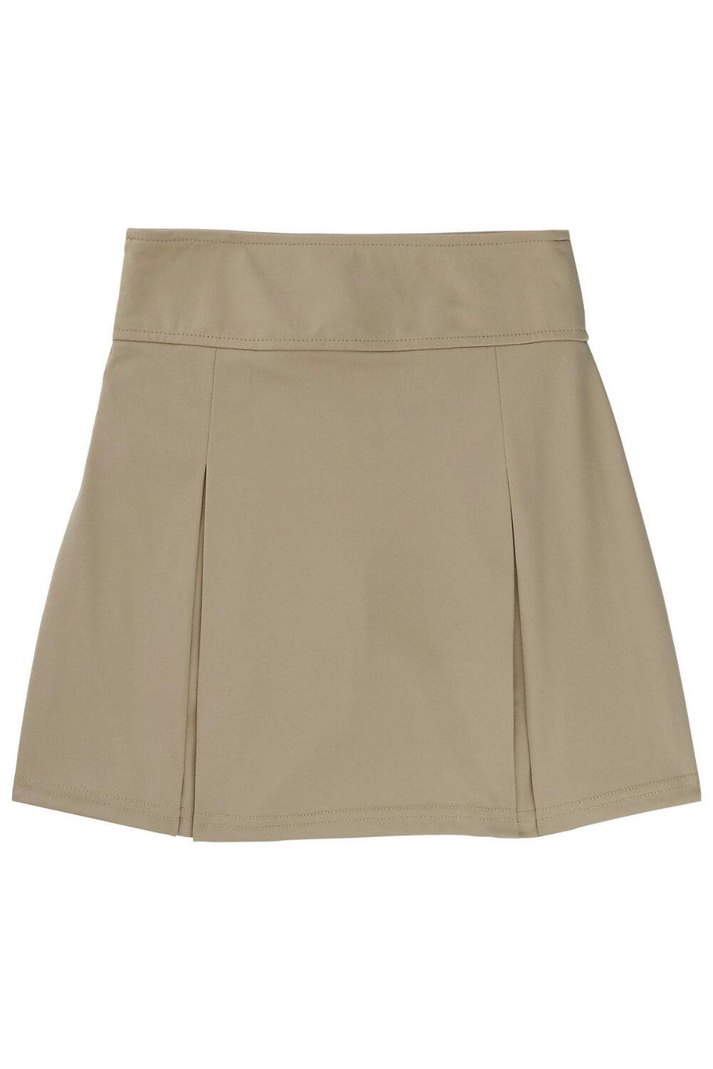 French Toast Big Girls' Pull-on Kick Pleat Scooter, Khaki, L (10/12)