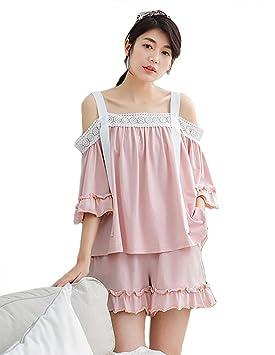 mujer sexy camisola de encaje conjunto de pijamas señoras 2 piezas media manga ropa de dormir
