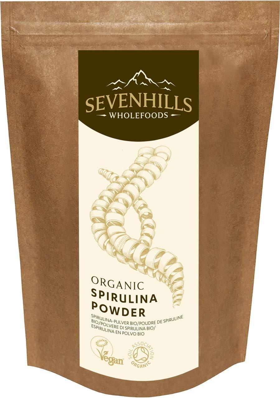 3 Pack Sevenhills Wholefoods Organic Spirulina Powder 500g - 100% Pure, UK Soil Association Certified Organic, Vegan Society Registered, Gluten Free - United Kingdom
