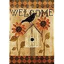 Toland Home Garden Harlequin Crow 12.5 x 18 Inch Decorative Rustic Welcome Fall Autumn Bird Garden Flag