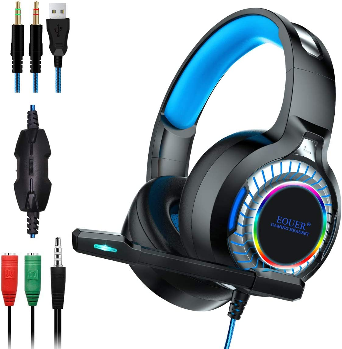 Stereo PC Gaming Headset with Noise Cancelling Microphone,Surround Sound Headphone with LED Light Intense Bass for Computer,Laptop, Mac