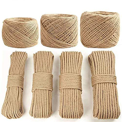 FINCOS 1pc 100meter 1/2/3/4/5/6/8/10mm Diameter Hemp Rope Twisted Cord DIY Handmade Tying Thread Cord Arts Craft Supplies - (Color: 10mm) by FINCOS (Image #3)
