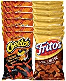 Cheetos Crunchy Xxtra Flamin' Hot & Fritos Chili Cheese Corn Chips Snack Care Package for College, Military, Sports Approxiamtely 8.0 Oz (12)