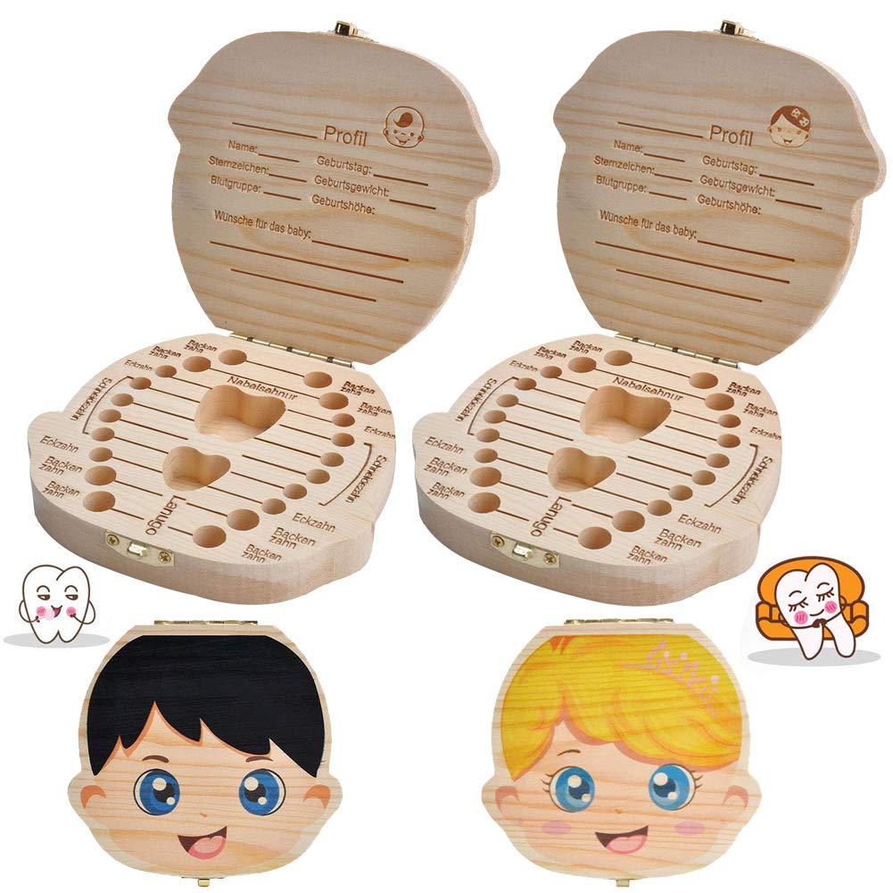 Aitsite save cajas de madera personalizada caja de recuerdos de hoja caduca Spanish texto beb/é dientes caja personalizar personalizada beb/é dientes caja