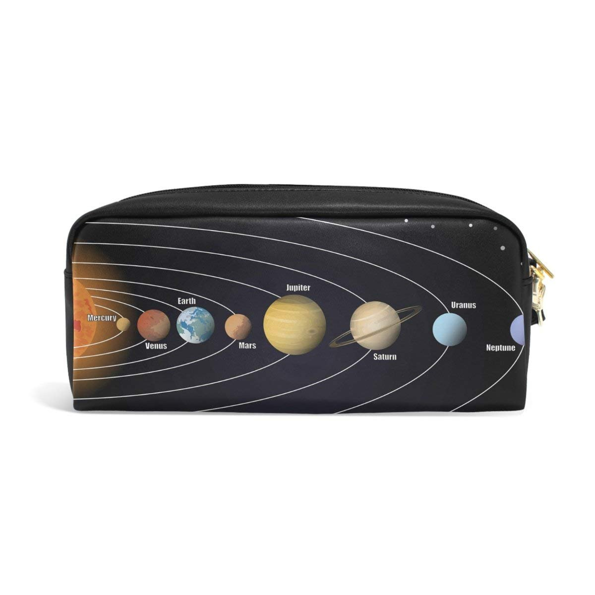 Pencil Case Funny Solar System Planet Big Stationery Holder Cosmetic Bag with Zip Art Colored Pen Pouch for Kids Girls Boy (1 Pack)