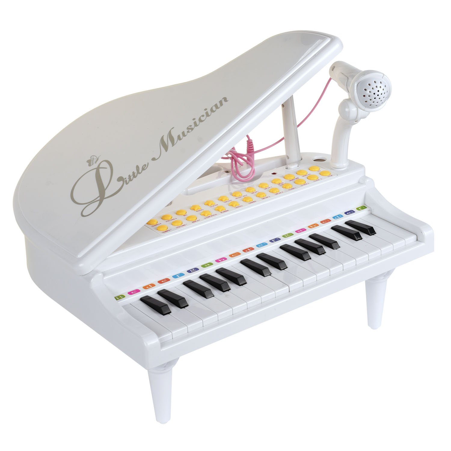 31 Key Small Toy Piano White with Microphone for Boys and Girls Baoli