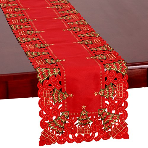 Grelucgo Embroidered Christmas Holiday Holly Tree Table Runner and Dresser Scarf, Rectangular 16 x 72 Inch]()