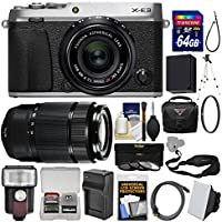 Fujifilm X-E3 4K Digital Camera & 23mm f/2 XF (Silver) with 50-230mm Lens + 64GB Card + Case + Flash + Battery & Charger + Tripod Kit